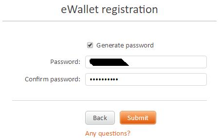 password for ewallet