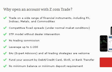 trading conditions for live account at z.com trade